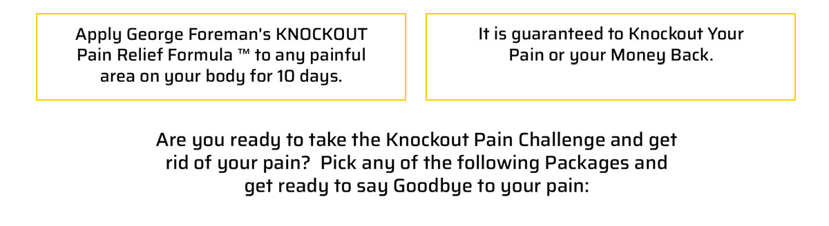 Here's how it works...ApplyGeorge Foreman's KNOCKOUT Pain Relief Formula ™ to any painful area on your body for 10 days. ApplyGeorge Foreman's KNOCKOUT Pain Relief Formula ™ to any painful area on your body for 10 days.
