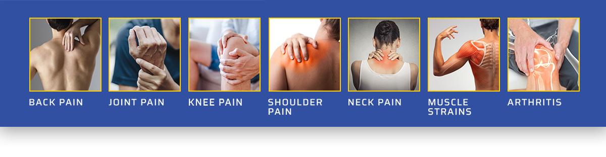 Back Pain, Joint Pain, Knee Pain, Shoulder Pain, Neck Pain, Muscle Strains, Authritis