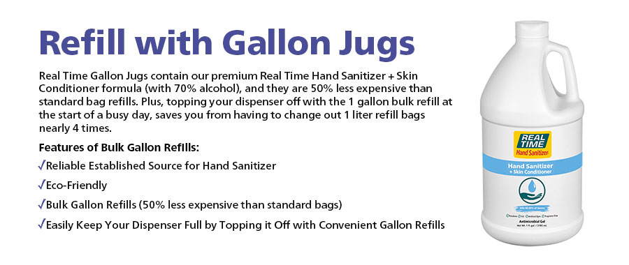 Real Time Gallon Jugs contain our premium Real Time Hand Sanitizer + Skin Conditioner formula (with 70% alcohol), and they are 50% less expensive than standard bag refills. Plus, topping your dispenser off with the 1 gallon bulk refill at the start of a busy day, saves you from having to change out 1 liter refill bags nearly 4 times.