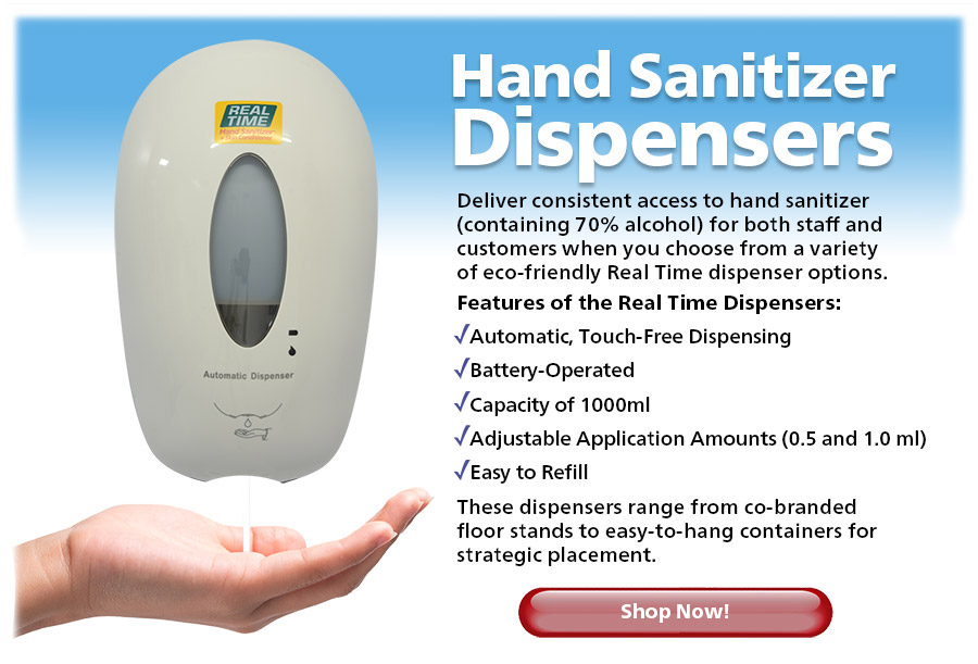 Deliver consistent access to hand sanitizer (containing 70% alcohol) for both staff and customers when you choose from a variety of eco-friendly Real Time dispenser options...Shop Now