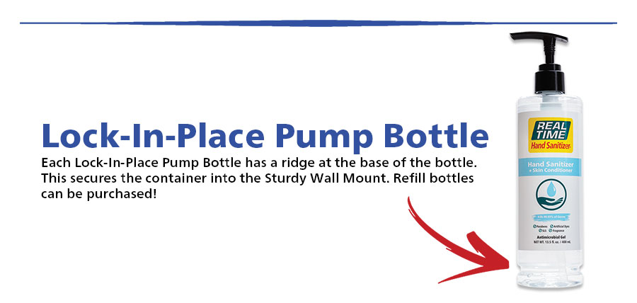 Lock-In-Place Pump Bottle Each Lock-In-Place Pump Bottle has a ridge at the base of the bottle. This secures the container into the Sturdy Wall Mount. Refill bottles can be purchased!...Shop Now