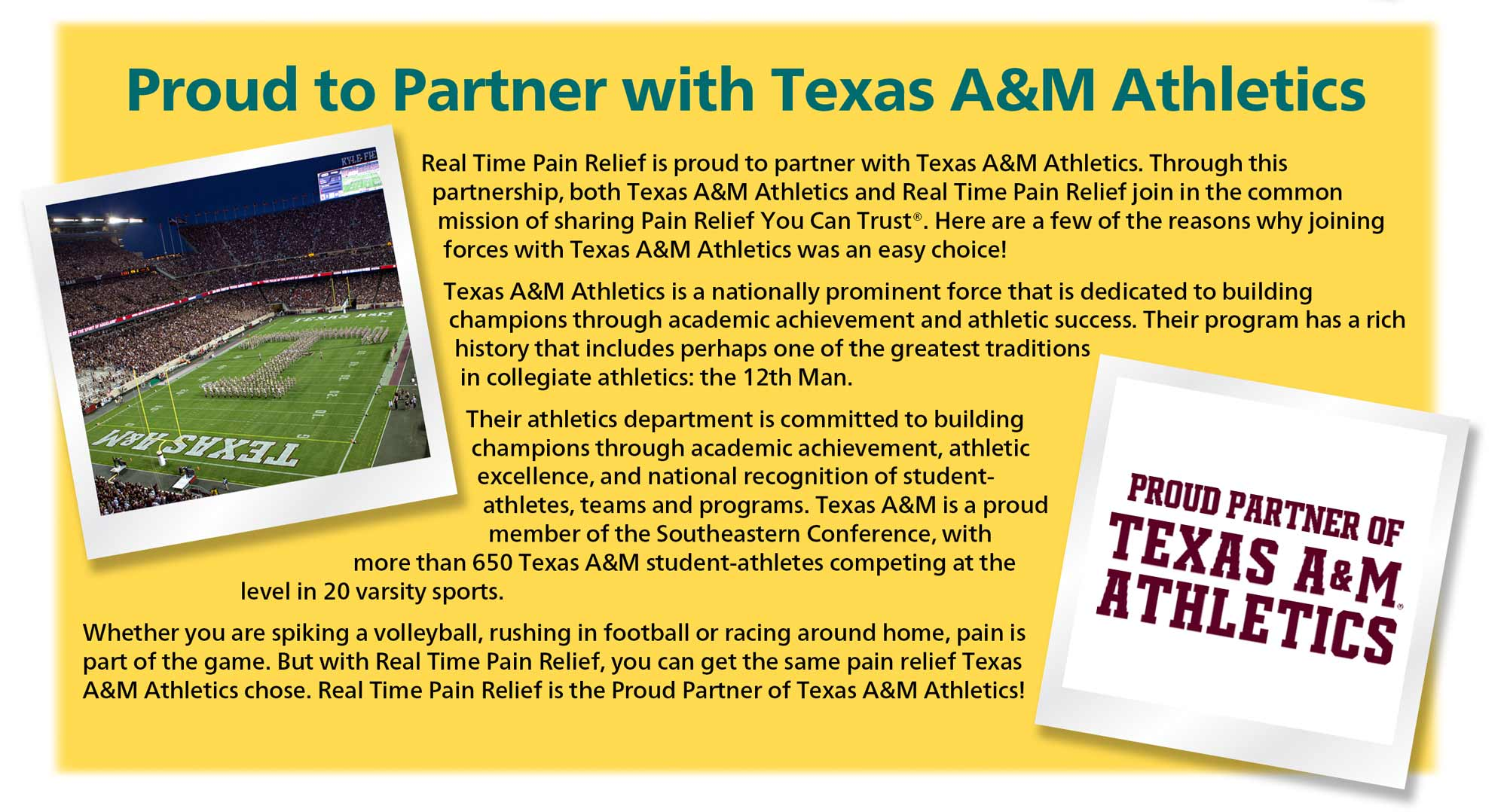 <span class='notranslate'>Real Time Pain Relief</span> is proud to partner with Texas A&M Athletics.
