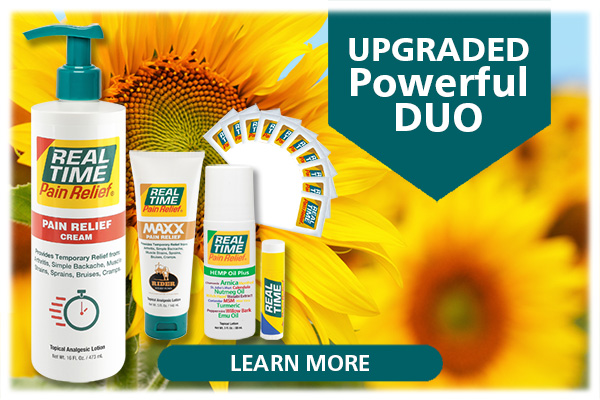 You can receive the Powerful Duo for free when you purchase the 16oz Pump Bottle of Real Time's flagship formula, ORIGINAL Pain Relief, along with a bonus Homeopathic LIP Balm Stick and 10 Travel Packs of one of our popular formulas...Click Here