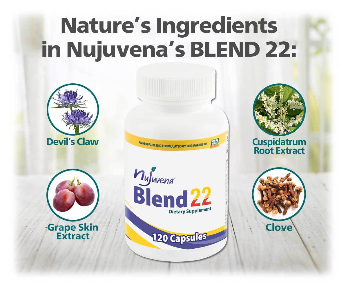 Blend 22 by Nujuvena is an herbal supplement that boasts a rich formulation of 4 of Nature's Ingredients. Devil's Claw Root Extract, Polygonum Cuspidatumroot Extract, Grape Skin Extract and Clove Buds are in each capsule to help supplement your diet and contribute to a happy, healthy lifestyle.