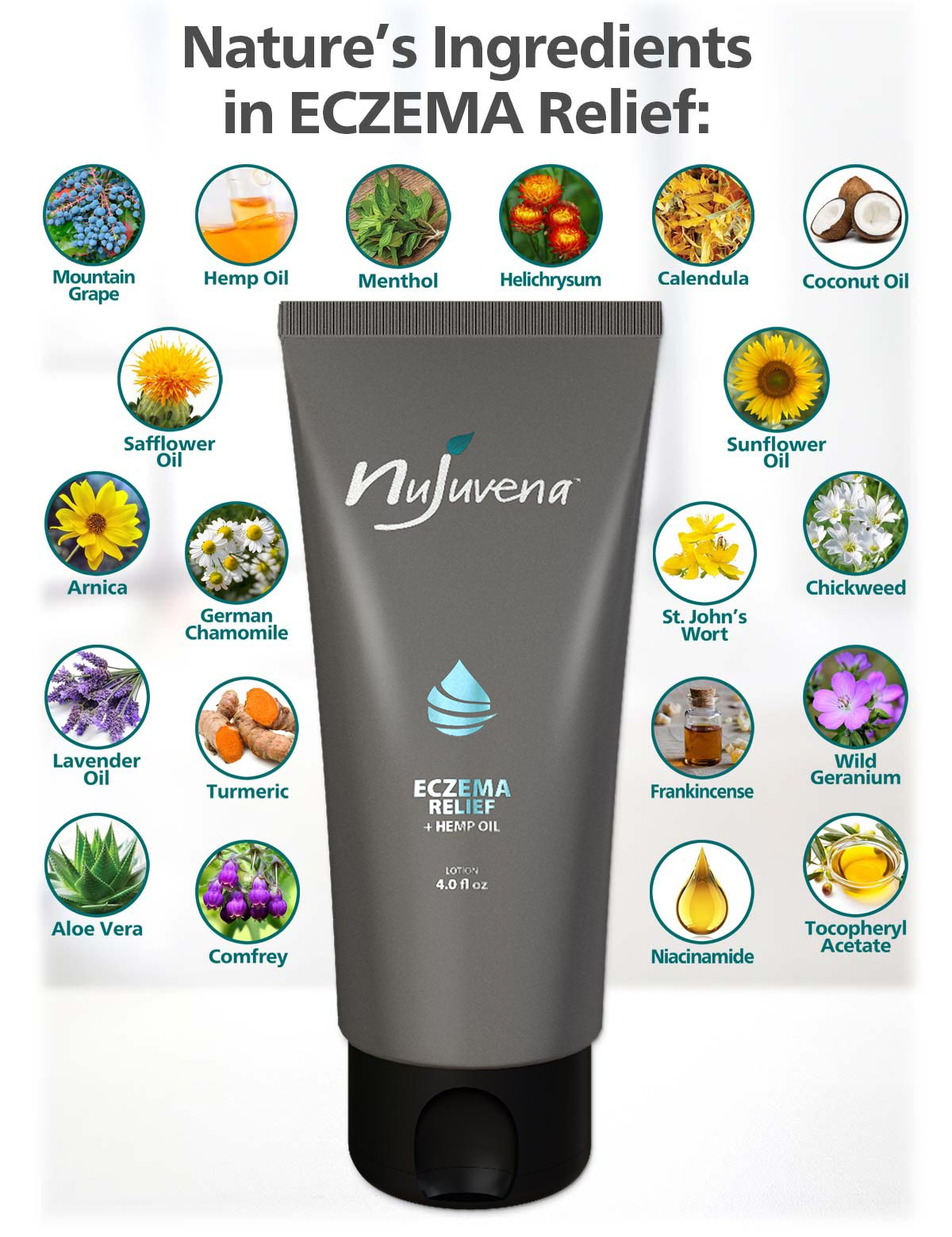 Eczema Relief by Nujuvena is a new, soothing lotion that harnesses the power of nature's ingredients to address the underlying causes of eczema induced irritation.