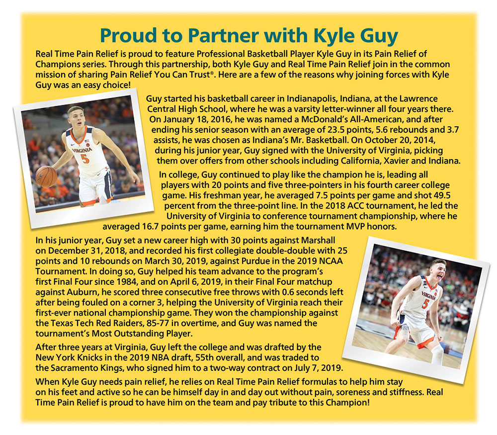 <span class='notranslate'>Real Time Pain Relief</span> is proud to feature NCAA Champion Basketball Player Kyle Guy