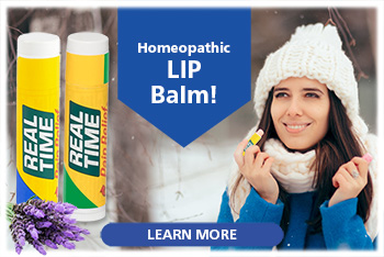 Made with 13 of Nature's Ingredients including Arnica, Jojoba Oil, Lanolin, and Aloe Vera, Real Time Homeopathic LIP Balm soothes lips within minutes of application