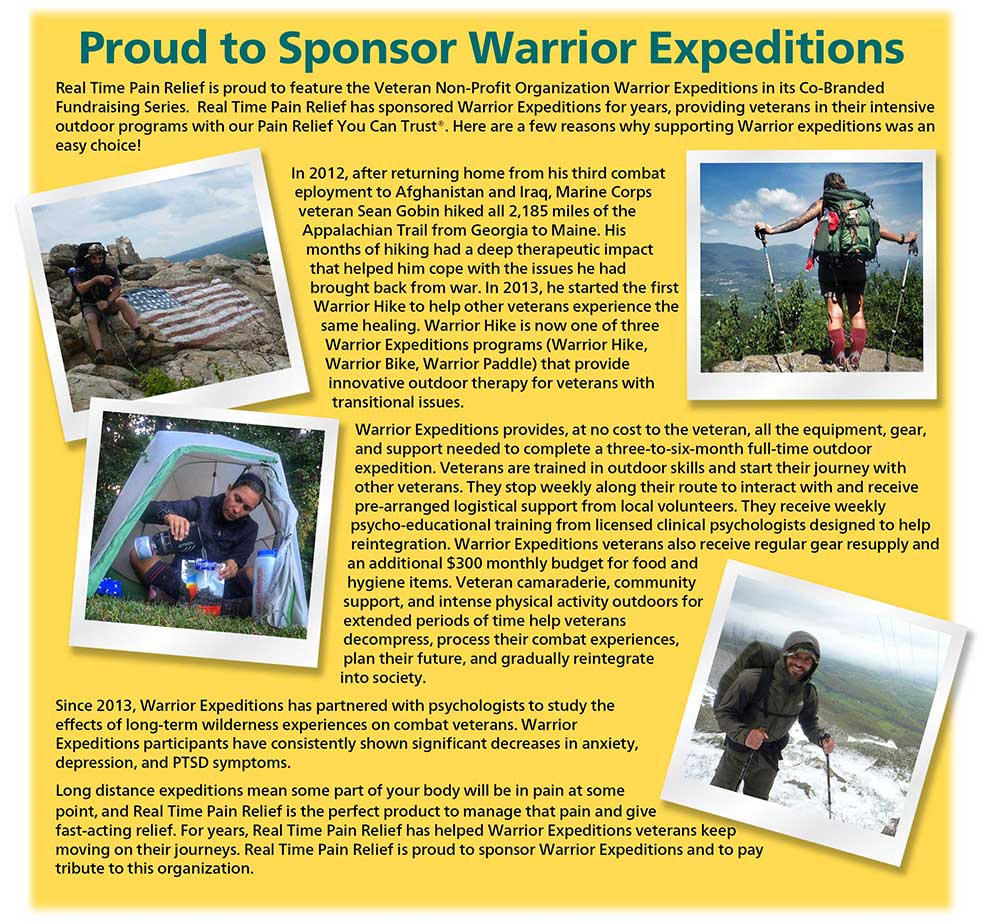 <span class='notranslate'>Real Time Pain Relief</span> is proud to feature the Veteran Non-Profit Organization Warrior Expeditions