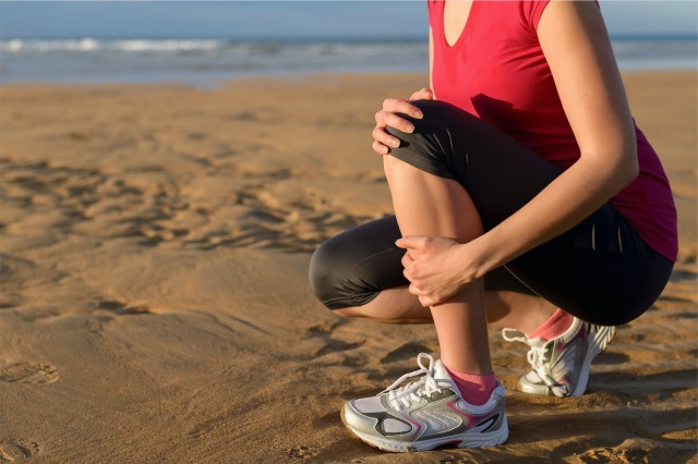 woman suffering from shin splints