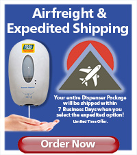 Hand Sanitizer Dispenser Expedited Air-Freight Option - Order Now