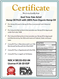 Hemp Oil Plus Certificate
