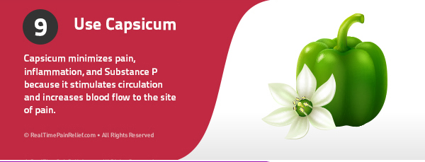 Using capsicum minimizes pain, inflamation, and substance p in carpal tunnel syndrome.