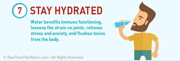 Staying hydrated can reduce pain from rheumatoid arthritis flare ups.