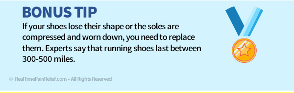 Replacing shoes after 300-500 miles can reduce pain from runner's knee.
