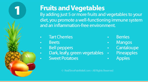 Adding fruits and vegetables to diet will ease arthritis pain.